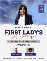 Modern Black First Lady's Day Church Flyer Te 传单(美国信函) template