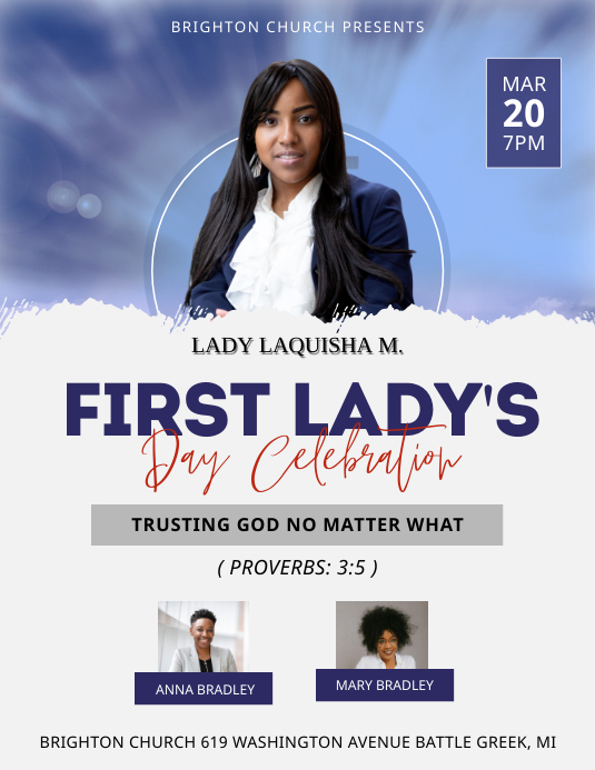Modern Black First Lady's Day Church Flyer Te template