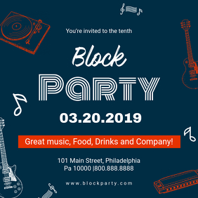Modern Block Party Invite Template