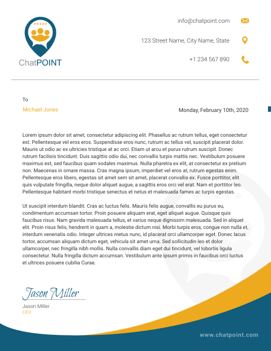 Modern Blue and Mustard Corporate Letterhead Løbeseddel (US Letter) template