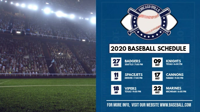 Modern Blue Baseball Schedule Digital Display Video Sampul Facebook (16:9) template