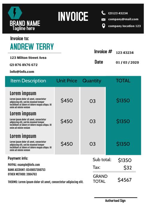 Modern blue Invoice Template