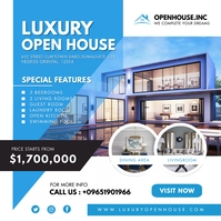 Modern Blue Luxury Open House Instagram Templ