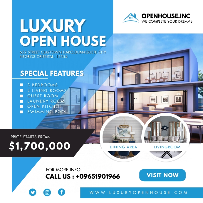 Modern Blue Luxury Open House Instagram Templ Quadrado (1:1) template