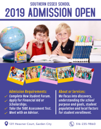 Modern Blue School Admission Poster