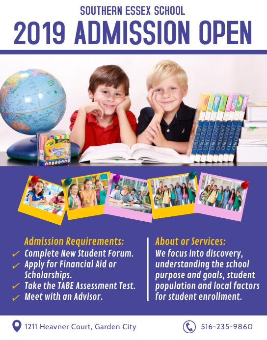 Modern Blue School Admission Poster