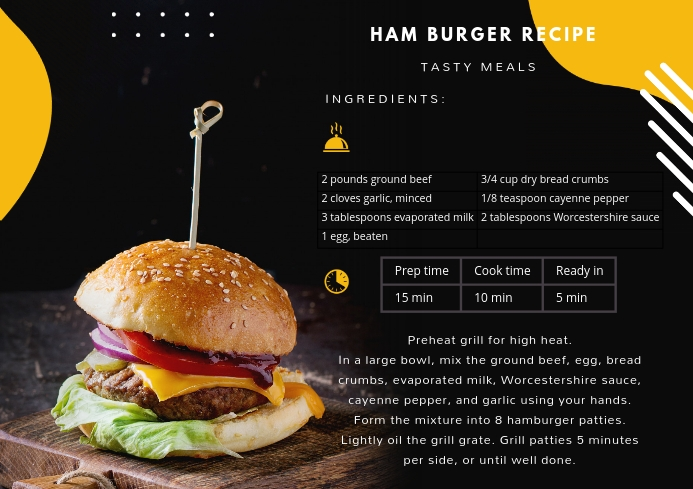 Modern Burger Recipe Card A4 template