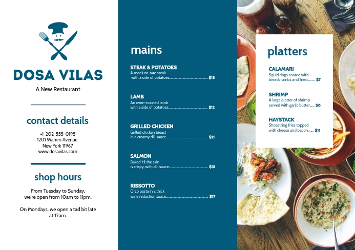 Modern Cafe Eatery Blue Menu Leaflet A5 template
