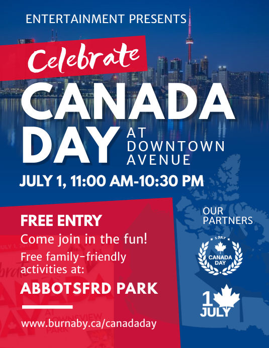 Modern Canada Day Event Flyer Pamflet (Letter AS) template