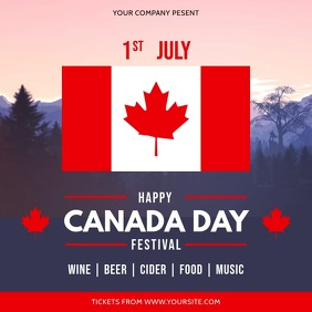 Modern Canada Day Festival Invitation Square