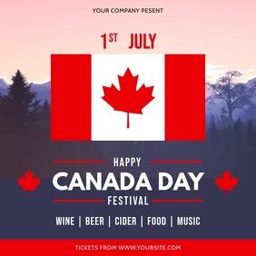 Modern Canada Day Festival Invitation Square template
