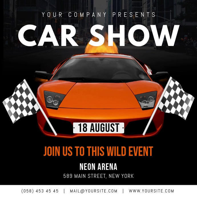 Modern Car Show Event Square Video Vierkant (1:1) template