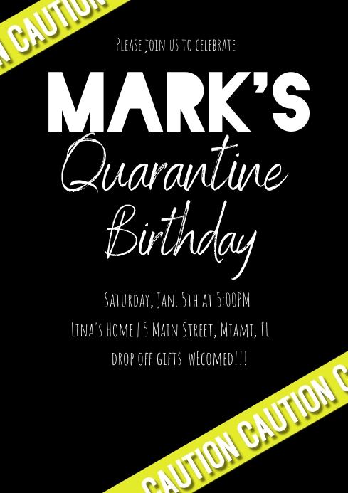 Modern Caution Quarantine Birthday Invitation A4 template