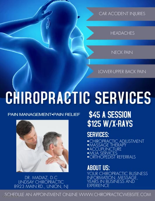 Modern Chiropractic Services Video Ad Pamflet (VSA Brief) template