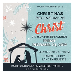 Modern Christmas Church Service Invitation