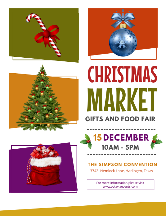 Modern Christmas Fair Flyer Design ใบปลิว (US Letter) template