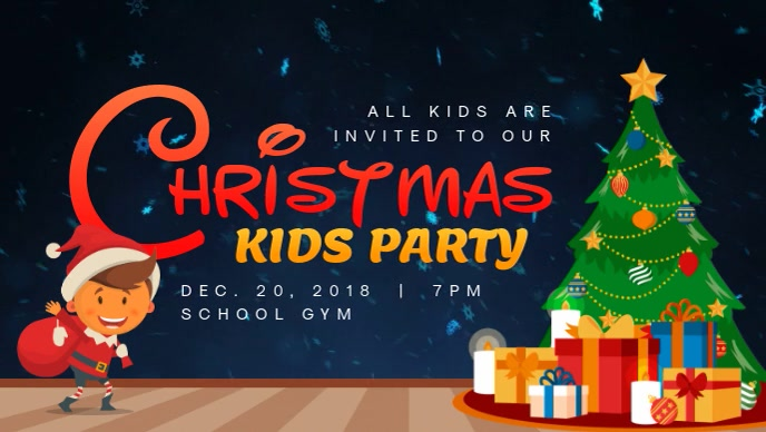 Modern Christmas Kids Party Invite Facebook Cover Video