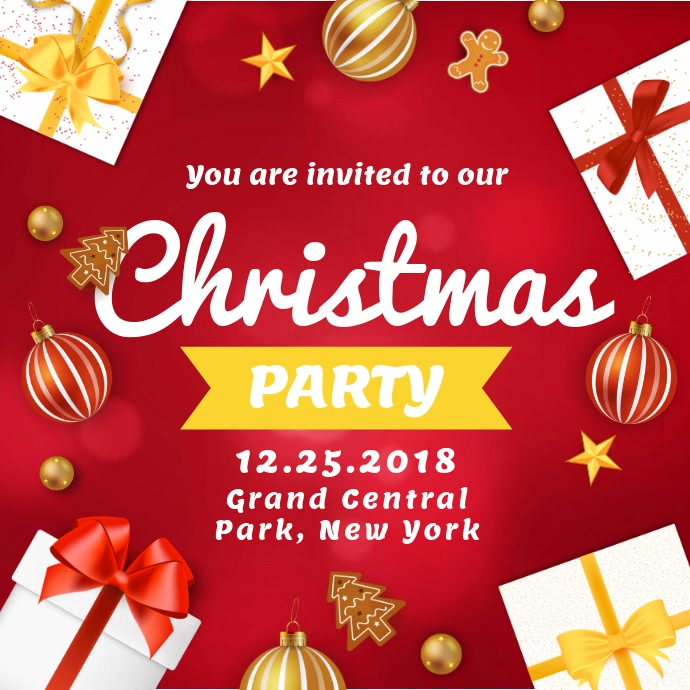Modern Christmas Party Invitation Square Ad