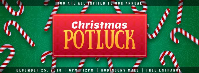 Modern Christmas Potluck Invitation Facebook Cover template