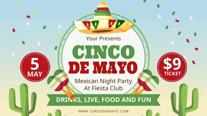 Modern Cinco de Mayo Fiesta Invite Digital Di Видеообложка профиля Facebook (16:9) template