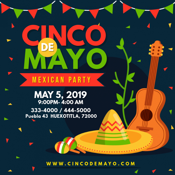 Modern Cinco de Mayo Party Invitation Instagram-opslag template
