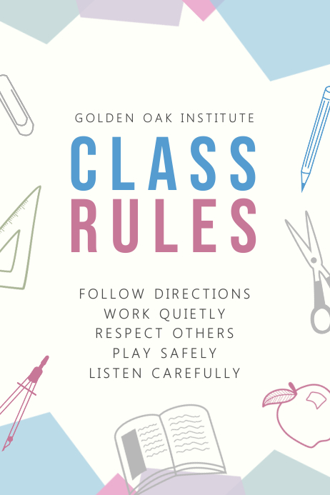 Modern Class Rules Poster Template Printable
