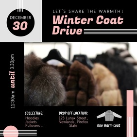 Modern Coat Drive Fundraiser Instagram Video Square (1:1) template