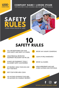 Modern Construction Work Safety Guidelines Fl Poster template