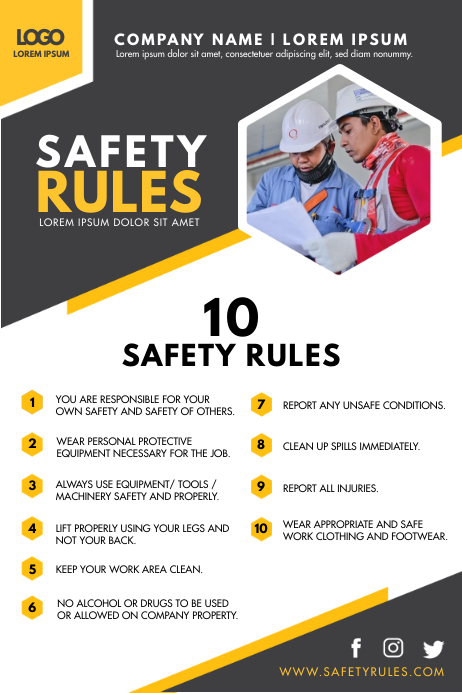 Modern Construction Work Safety Guidelines Fl Plakat template