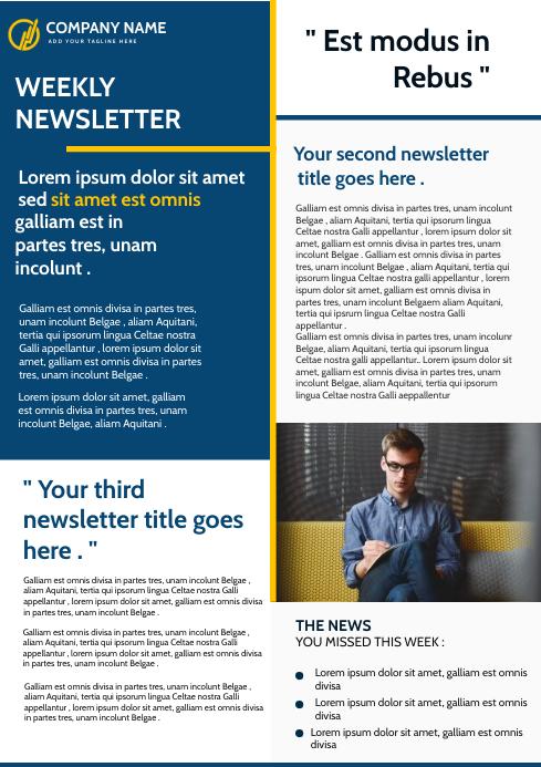 modern corporate newsletter template design A4