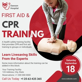 Modern CPR Training Service Flyer Instagram Post template