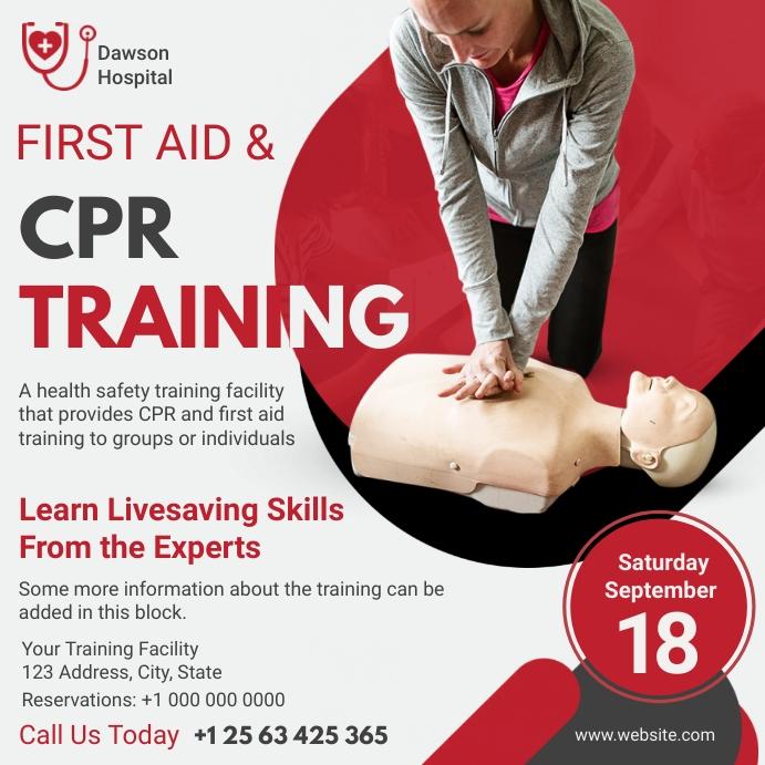 Modern CPR Training Service Flyer Instagram 帖子 template
