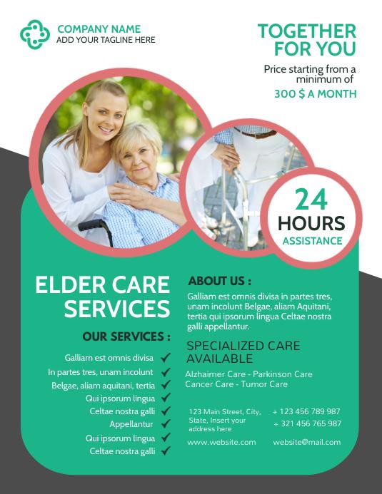modern creative senior and elder care flyer a template