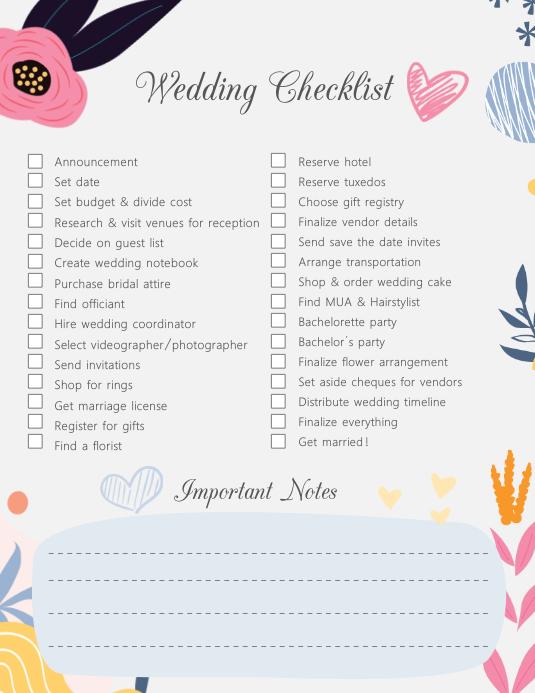 Modern Custom Wedding Checklist Template Postermywall