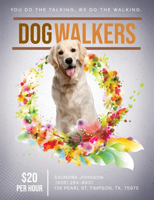 Modern Cute Dog Walking Flyer template