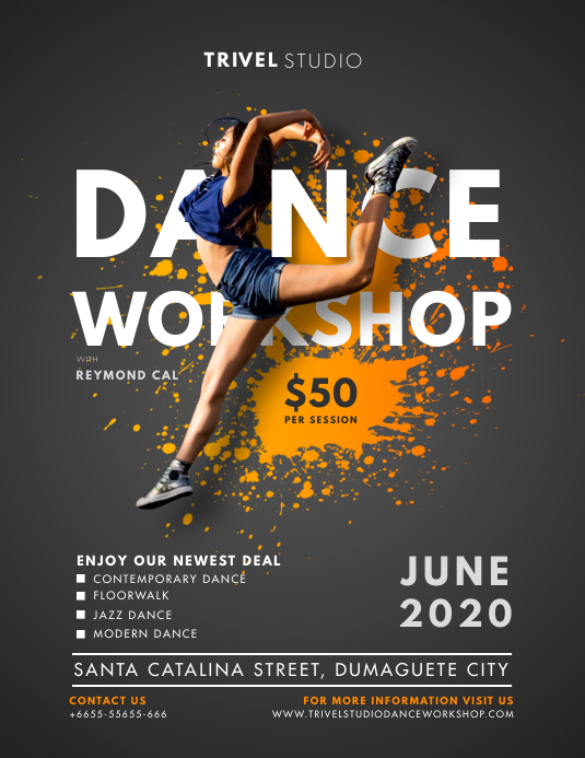 Modern Dance Studio Workshop Flyer