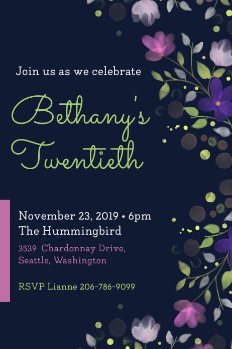 Modern Dark Blue Birthday Party Invite Poster template