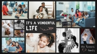 Modern Dark Grey Family Photo Collage Digital 数字显示屏 (16:9) template