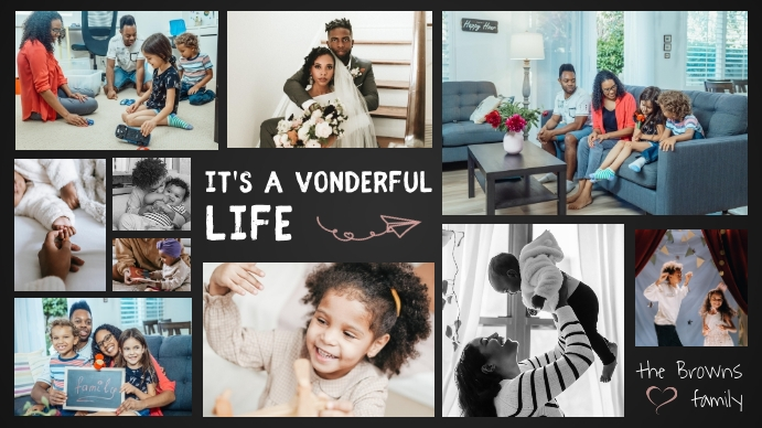 Modern Dark Grey Family Photo Collage Digital Display digitale (16:9) template
