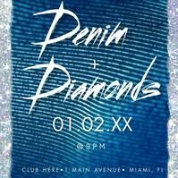 Modern Denim & Diamonds Bling Invitation Vide Instagram-bericht template