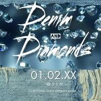 Modern Denim & Diamonds Invitation Video Instagram-Beitrag template