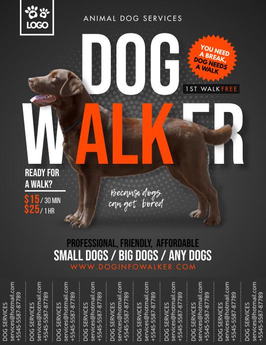 Modern Dog Walking Service Flyer Tear-off Tab template