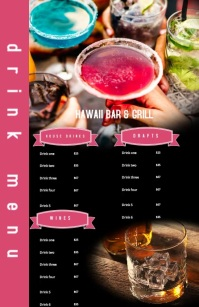 Modern Drinks Bar Restaurant Menu Wide Setengah Halaman template
