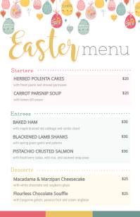 Modern Easter Menu with Illustrations