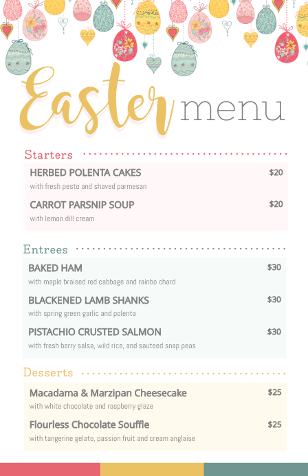 Modern Easter Menu with Illustrations Halv side bred template
