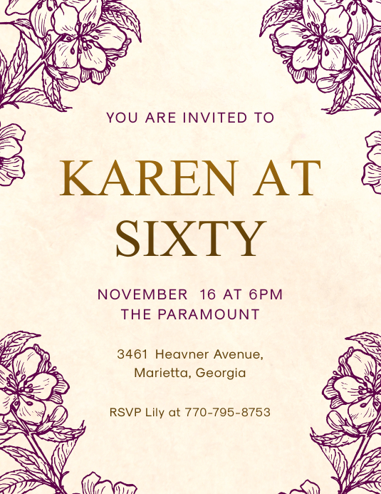 Modern Elderly Birthday Party Invitation Pamflet (Letter AS) template
