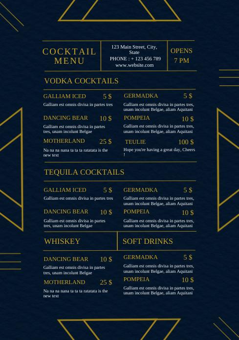 Modern elegant cocktail menu template A4