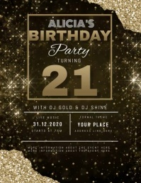 MODERN ELEGANT SIMPLE GOLD BIRTHDAY TEMPLATE Flyer (US-Letter)