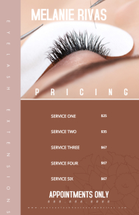 Modern Eye Lash Extension Pricing Menu Kalahating pahina na Wide template