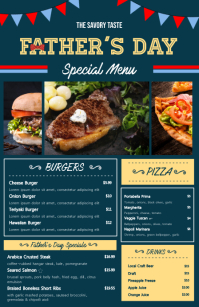 Modern Father's Day Fast Food Menu Half Page Wide template
